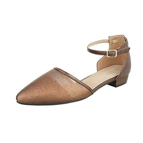 Ital-Design Komfort Pumps Damen-Schuhe Geschlossen Blockabsatz Blockabsatz Schnalle Pumps Bronze, Gr 42, Dm17-11-
