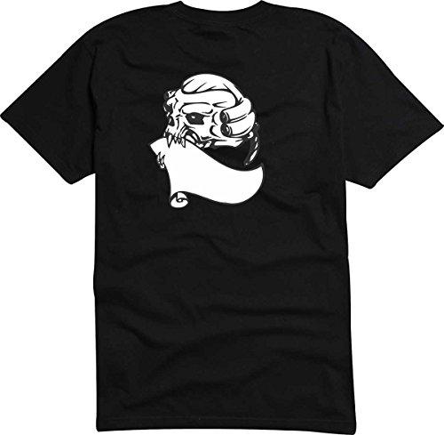 T-Shirt D611 T-Shirt Herren schwarz mit farbigem Brustaufdruck - Design Tribal Comic / abstrakte Grafik / Totenkopf Schädel Mozart mit Zähnen Weiß