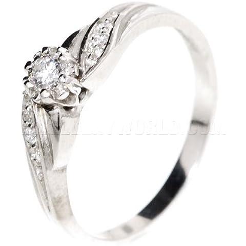 Diamond-Anello di fidanzamento in oro bianco (18 carati), con spalle curve