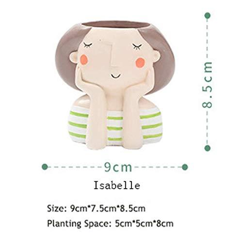 ATEZIEU Mädchen Blumentöpfe, Succulent Plant Pot Cute Girl Flower Planter Blumentopf Erstellen Sie Design Schöne kleine Prinzessin Home Garden Bonsai Pots -