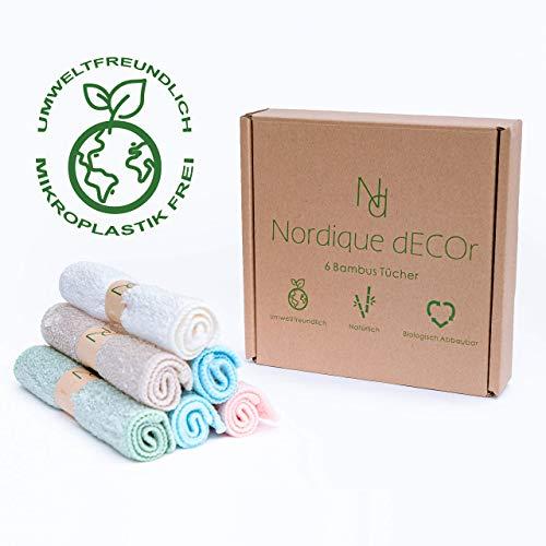Nordique Decor Zero Waste Nachhaltige Bambus Tücher/Putzlappen 6er Set für den ganzen Haushalt 23x17cm -