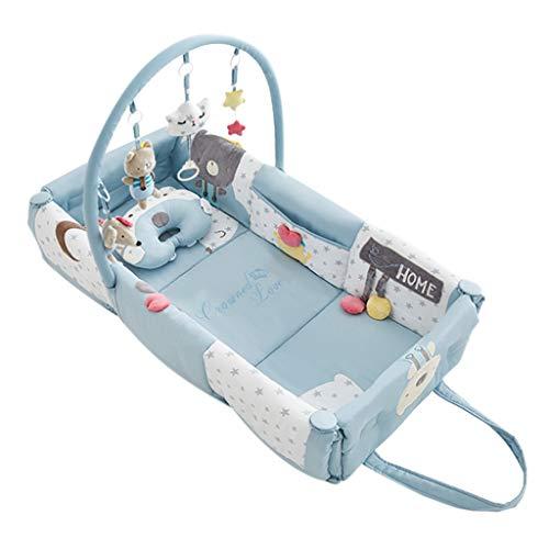 Réducteur de Lit Babynest Gymnase de lit pour bébé Portable Bleu, Coussin de Jeu pour Tapis de Jeu pour bébé avec Centre d'activités, adapté à la Naissance pour Les Nouveaux-nés