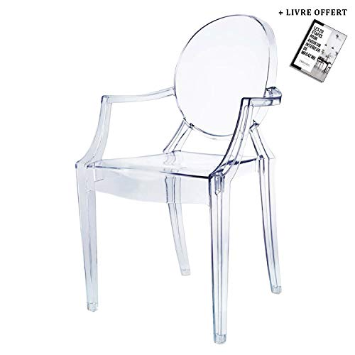TRENDS FOR HOMES Chaise Roma - Plexi - Transparente - inspirée Ghost - *inclu Guide de décoration* (Transparent, 1)