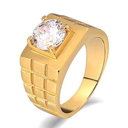 Beglie Edelstahl Herren Ringe Big Rings Halloween Siegelring Bandring Daumenring für Mann Gold Siegelring Army Größe 65 (20.7)
