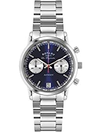 ec940ef5980 Rotary Men s Quartz Watch with Blue Dial Chronograph Display and Silver  Stainless Steel Bracelet GB90130