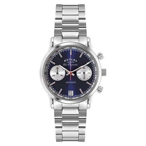 Rotary GB90130/05 Orologio Cronografo da Polso, Uomo, Cinturino in Acciaio Inossidabile, Argento