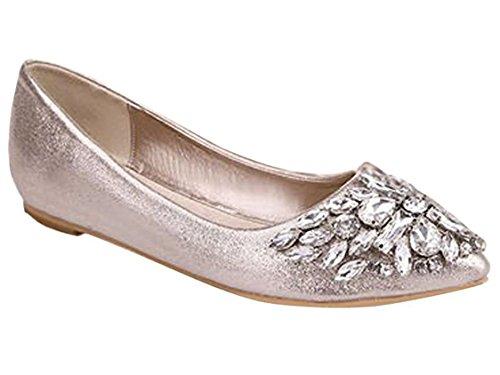 Minetom Damen Mädchen Mode Schuhe Spitze Schuhe Flache Ferse Bling Kristall Ballett Prinzessin Schuhe Gold 37 - Gola-spitze Schuhe