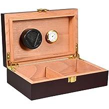 volenx caja de puros con higrómetro y humidificador portátil de viaje para puro humidorcan para 10–15cigarros