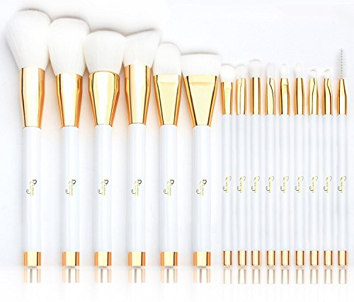 Makeup Brushes, Qivange Professional Synthetic Vegan Make Up Brushes Foundation Blush Eyeliner Eyeshadow Makeup Brush Set with Cosmetic Bag(15pcs, White)