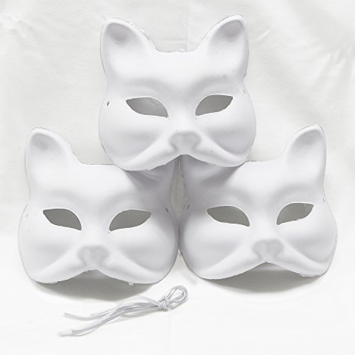 Mask Fox White ((Mask of fox) Mask of fox cosplay fancy dress / cosplay tool, DIY, handmade, of unmarked / mask / masquerade white set of 3 (japan)