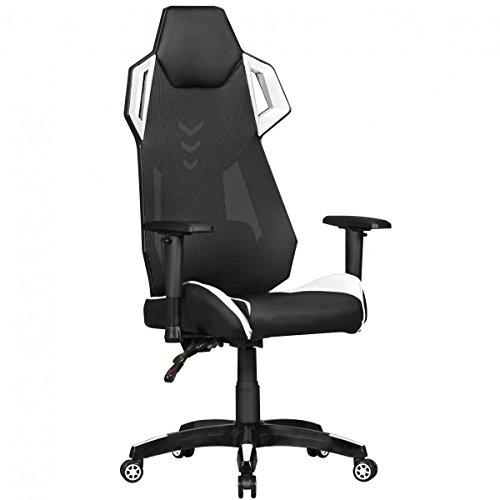 AMSTYLE® GamePad - Gaming Chair aus Kunstleder / Mesh in Schwarz / Weiß | Schreibtisch-Stuhl in Leder-Optik | Design Racing Chefsessel mit Armlehne | Gamer Bürostuhl mit Racer Sport-Sitz und Kopfstütze | Drehstuhl in Race-Optik - Leder-schreibtisch-stuhl