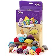 Chiwava 36PCS 4.1'' Furry Cat Toy Mice Rattle Small Mouse Kitten Interactive PlayAssorted Color