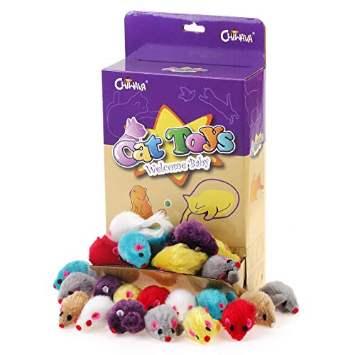 chiwava 36 piezas 4,1 '' peludo ratones gato juguete sonajero pequeño ratón gatito interactivo Jugar color surtido