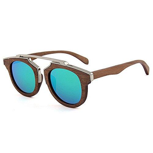 Yiph-Sunglass Sonnenbrillen Mode Herren Sonnenbrillen HandmadeMetal Dekoration Holz polarisierte Sonnenbrillen Gentleman UV-Schutz Fahren Strand Sonnenbrillen (Farbe : Grün)