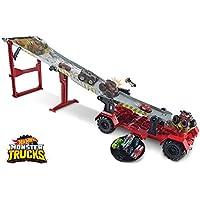 Hot Wheels - Monster Trucks Pista 2 in 1 Discesa Estrema Playset con Due Veicoli e Accessori, Giocattolo per Bambini 4+ Anni, GFR15