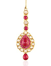 I Jewels Traditional Gold Plated Maang Tikka for Women T005Q (Rani/Pink)