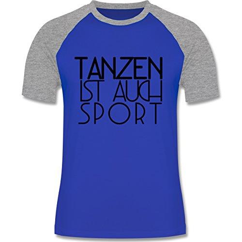 Statement Shirts - Tanzen ist auch Sport - Herren Baseball Shirt Royalblau/Grau meliert