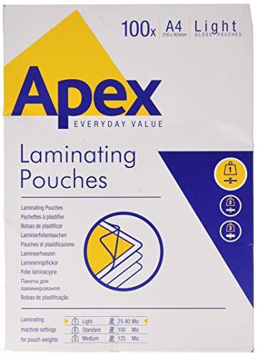 Fellowes 6003201 Apex Confezione Pouches per Plastificazione, Formato A4, 100 Pezzi
