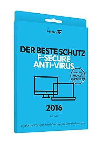 F-Secure Anti-Virus 2016 PC & Mac - 1 Jahr / 1 Computer