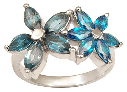 Banithani 925 Pure Silver London Blue Topas Edelstein-Ring indische Art und Weise Frauen-Schmucksachen