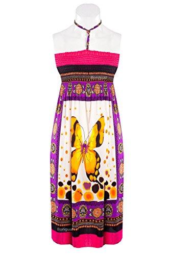 "2in1 Strandkleid Sommerkleid Sommerrock Boho Hippie Look Bandeau ""Schmetterling"" Pink"