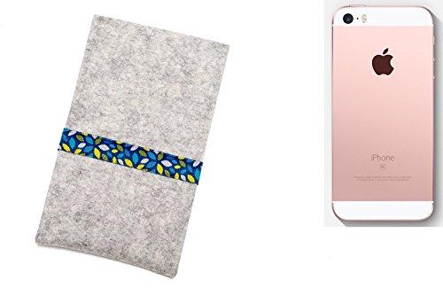 """flat.design Filzhülle """"Lisboa"""" für Apple iPhone SE - passgenaue Handytasche aus 100% Wollfilz (anthrazit) - made in Germany Schutz Case für Apple iPhone SE blaue Blätter - hellgrau"""