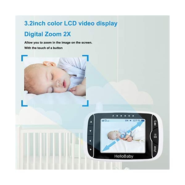 """HelloBaby Video Baby Monitor, [HB66] with VOX Mode Remote Camera Pan-Tilt-Zoom 3.2 Inches Color LCD Screen Infrared Night Vision Temperature Monitoring Lullaby 2-Way Audio (Black) hellobaby 3.2"""" LCD DISPLAY & 2.4GHz WIRELESS TECHNOLOGY: This video baby monitor is equiped with a 3.2 inch TFT LCD display. Application of frequency hopping and digital encryption technology ensures secure and reliable connection. REMOTE PAN TILT and ZOOM: Remote control camera rotate 355° in horizontal and 120° vertical ensuring you always have a clear view of your baby from any angle. TWO WAY TALK: The crystal clear two-way audio feature allows conversation both ends as clear as if you were in the same room with your little one. 4"""