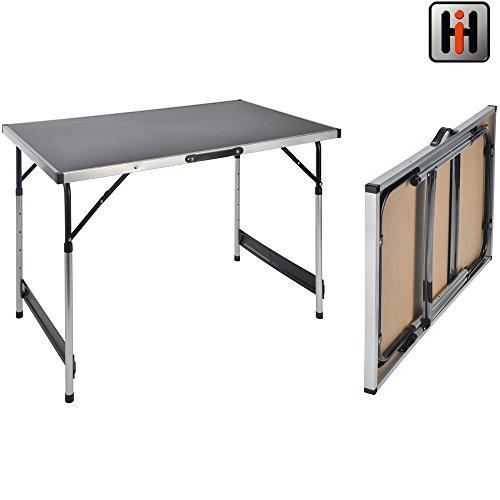 Aluminium Campingtisch. Ein Mehrzwecktisch für Indoor und Outdoor, Universaltisch Klappbar mit MDF Tischplatte. Klapptisch mit verstellbarer Tischhöhe. Maße: 100 x 60 cm, Tapeziertisch Flohmarkttisch