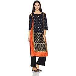 W for Woman Women's Straight Kurta (17AU17345-50228_Blue_14)