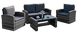 New Algarve Rattan Wicker Weave Garden Furniture Patio Conservatory Sofa Set (Grey)