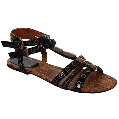 FANTASIA BOUTIQUE Damen Schwarz Riemchen Wulstig PU Lack Freizeit Damen Mode Sandalen Schuhe Schwarz