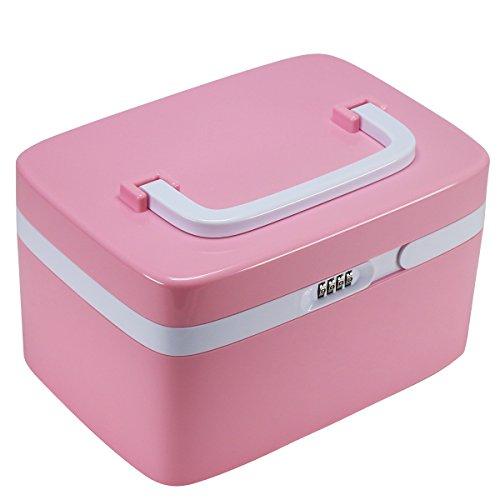 Blocco Governo della medicina, EVERTOP domestica First Aid Kit bloccaggio pillola di prescrizione Caso Storage Box con scomparti per i gioielli cosmetici Carte Oli Essenziali Arte e Mestieri forniture mediche, Rosa