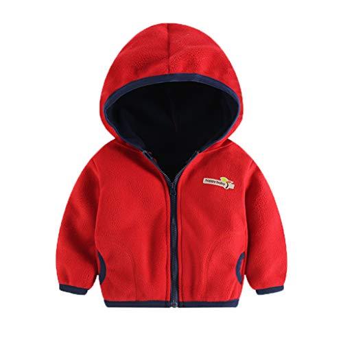Alwayswin Kleinkind Baby Mädchen Jungen Fleece Jacke Farbig Warme Mantel Infant Winter Kapuzenjacke Outwear Kinder Jacken mit Reißverschluss Coat Windjacke Fleecejacke Sweatjacke
