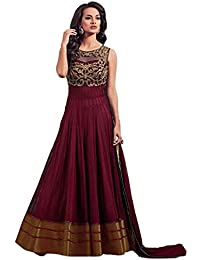 82732f7db Shree Radhe Enterprise Women Net Semi-stitched Embroidered Salwar Suit  Dupatta Material (Maroon