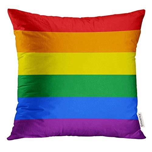opi 90iuop Dekokissenbezug Regenbogen die offizielle Flagge der Gay Pride-Bewegung in Farbe und in den Ma?en LGBT Dekorative Kissenbezug Home Decor Square 18 x 18 Zoll Kissenbezug
