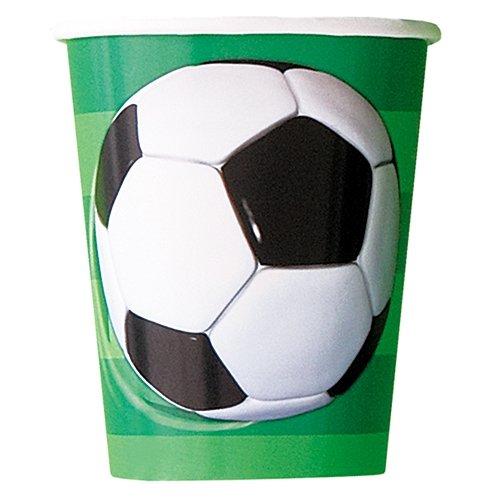 Unique Party 27306 - Bicchieri di Carta Calcio, Confezione da 8 - Disposable Partito Posate Di Plastica