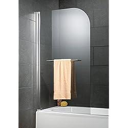 Schulte pare-baignoire pivotant 80x140 cm, anto-calcaire, paroi de baignoire rabattable avec porte-serviette, écran de baignoire 1 volet, verre transparent, profilé aspect chromé