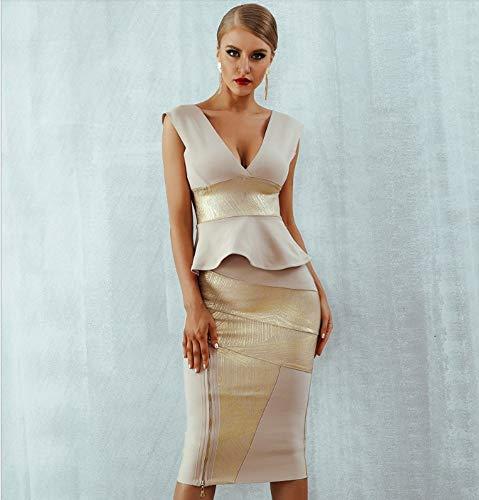 JJHR Kleider Rüschen Promi Party Kleid Sommer Frauen Bodycon Set Ärmellos V-Ausschnitt Reißverschluss Bandage Kleid Frauen, Xs