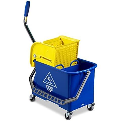 TTS 00006394 Double Bucket Cubo Polipropileno, Capacidad de 20 Litros, Mamparo Strizzatore Con Tapa Extraíble y Ruedas