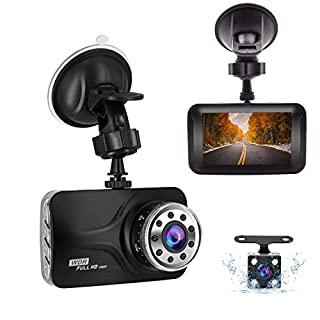 Dual Dash Cam Front and Rear, FHD 1080P Car Camera 3'' LCD Screen Car Dashboard Camera with Night Vision, 170°Wide Angle, G-Sensor, Parking Monitoring, Loop Recording, HDR, Motion Detection