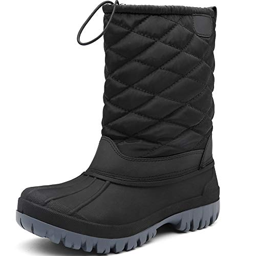 AONEGOLD Snow Boots Womens Waterproof Outdoor Rain Boot Winter Warm Fleece Lined Walking Non-Slip Shoes with High Traction Sole Black Blue