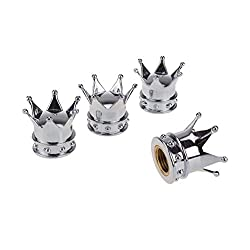 DSYCAR Stylish A CROWN Valve Caps Bike Motorcycle Car Tires Wheel Valve Stem Dust Caps for Car styling Decoration - Set of 4-