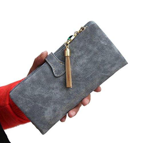 Jamicy® Donne portafoglio con coulisse in pelle cerniera borsa Retro
