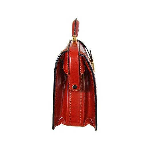 Pratesi Miss Brunelleschi Italian Radica style mallette en cuir. Sac à main (noir) noir