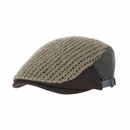 WITHMOONS Béret Casquette Chapeau Wool Twisted Cable Knitted Newsboy Hat Flat Cap Two-Color Block AC3121 Vert