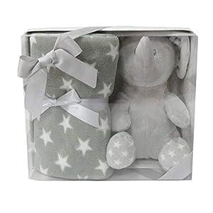 Duffi Baby- Manta y Peluche, 90 x 75 cm, Color Plata (Master Baby Home, S.L. 0658-11)