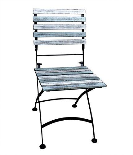 EuroLiving Vintage Gartenstuhl, Terrassensstuhl, Bistrostuhl, Stuhl, Klappstuhl, 2-er Set Shabby, Retro, blau, Marine, Azur (2-er Set Klappstuhl)