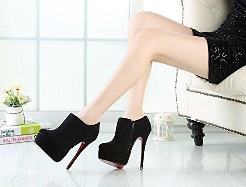 HeiSiMei Women's Heels / kurze Aufladungen / Stilett-Ferse / runde Zehe / dicke wasserdichte Plattform / Peep Toe Pumps / Nightclub / Party & Evening / Herren / Unisex BLACK-EU43