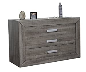 sciae 13cc1403 lumeo 56 kommode mit 3 schubladen extra tiefe 50 cm dunkel eiche grau. Black Bedroom Furniture Sets. Home Design Ideas