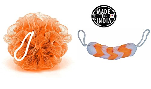 KRIWIN® Combo of 1 Orange Bath Loofah and 1 Orange & White Sponge Scrub for Back(orangeloofahorangewhitescrub)